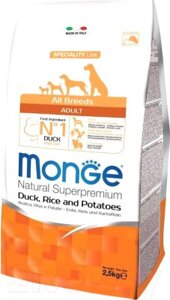 Корм для собак Monge Speciality Adult All Breeds Duck, Rice&Potato (2.5кг)