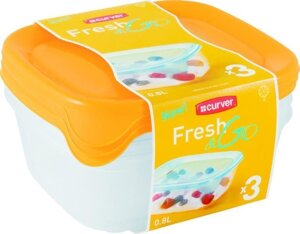Контейнер для свч fresh & go SET SQR 0.8L (3шт), желтый